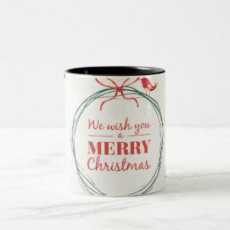 Gemalter Mistelzweig der frohen Weihnachten Zweifarbige Tasse