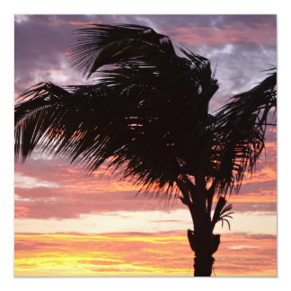 Gemalter Palmen-Sonnenuntergang Ankündigungskarte