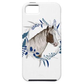 Gemalter Pferdeblauer Feiertags-Kranz iPhone 5 Etui