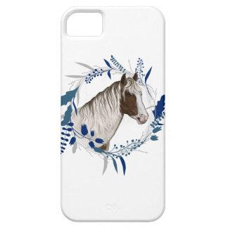 Gemalter Pferdeblauer Feiertags-Kranz iPhone 5 Schutzhülle