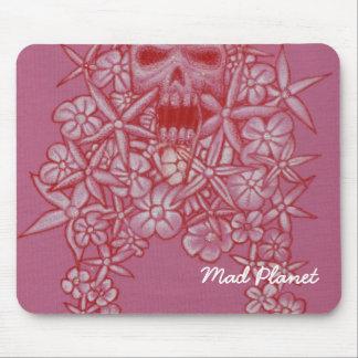 Gemalter rosa Schädel u. Blumen Mauspads