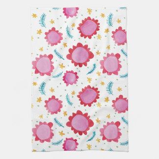 Gemaltes Blumen-kleines rotes Küchen-Tuch Küchentuch