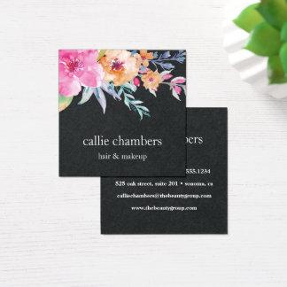 Gemaltes Blumen| Schwarzes des Aquarell- Quadratische Visitenkarte