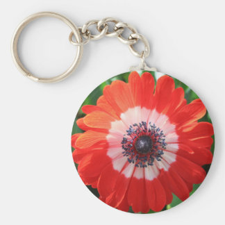 Gemaltes Gänseblümchen, helles Rot! Standard Runder Schlüsselanhänger
