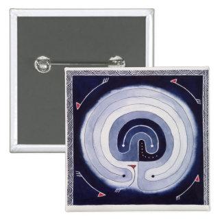 Gemaltes Labyrinth Quadratischer Button 5,1 Cm