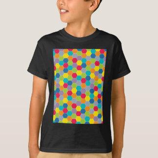 Gemaltes Paletten-Regenbogen-Hexagon-Muster T-Shirt