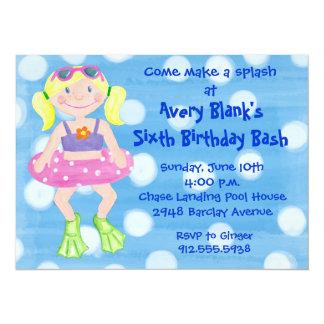 Gemaltes Schwimmen-Partei-Blondinen-Mädchen 14 X 19,5 Cm Einladungskarte