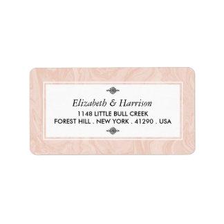 Gemarmorte Rosen-elegante Vintage Hochzeit Adressetikett