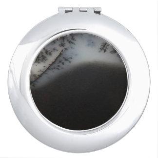 Gemarmorter schwarzer Achat, cooles natürliches Schminkspiegel