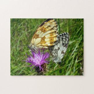 Gemarmortes weißes Schmetterlings-Foto-Puzzlespiel Puzzle