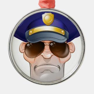 Gemeine verärgerte Cartoon-Polizei bemannt Silbernes Ornament
