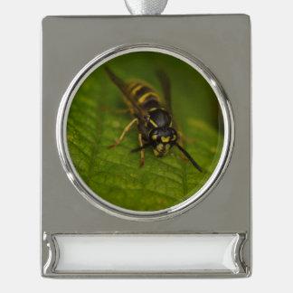 Gemeine Wespe Banner-Ornament Silber