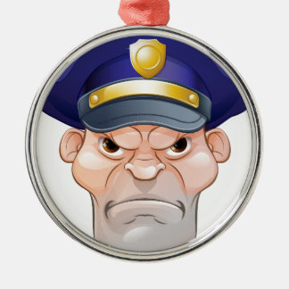 Gemeiner verärgerter Cartoon-Polizist Silbernes Ornament