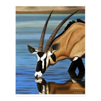Gemsbok, Afrika, wildes Leben, Tier, Ölgemälde Postkarte