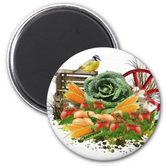 Gemüse und Eier Runder Magnet 5,7 Cm