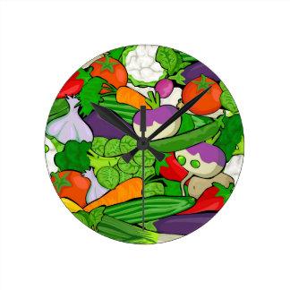 Gemüsemuster Runde Wanduhr