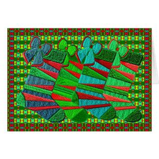 Gemusterte gestickte WeihnachtsStrümpfe Grußkarte