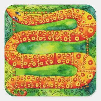 Gemusterte Schlange Quadratischer Aufkleber