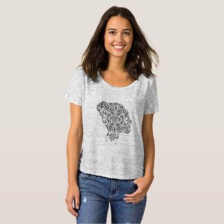 Gemusterte Silhouette, schwarz auf Grau T-Shirt