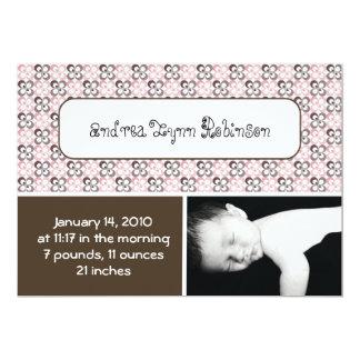 gemustertes Baby der modernen rosa braunen Blume 12,7 X 17,8 Cm Einladungskarte