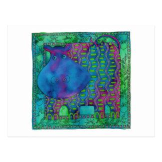 Gemustertes Flusspferd Postkarte