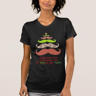 Gemustertes Schnurrbart-Weihnachtsbaum-Kleid T-Shirt