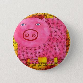 Gemustertes Schwein Runder Button 5,7 Cm