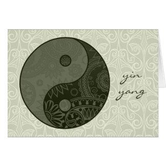 Gemustertes Yin Yang weises Grün Mitteilungskarte