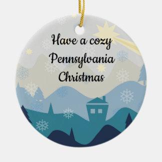 Gemütliches Pennsylvania-Weihnachten wünscht Keramik Ornament