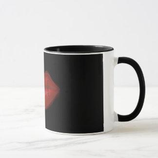 Genähte rote Lippen Tasse