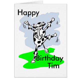 Genannte Geburtstagskarte des Tanzens addieren Kuh Karte