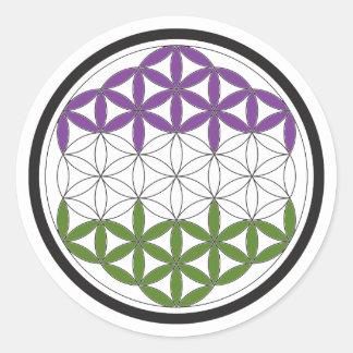 genderQueer heilige Geometrie Runder Aufkleber
