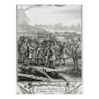 General Fairfax mit seinen Kräften vorher Postkarte