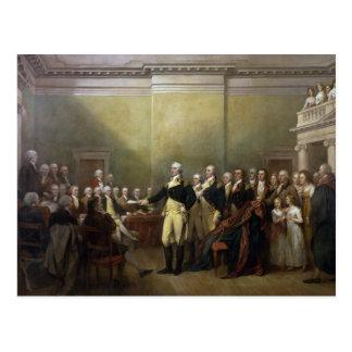 General George Washington, der seine Kommission Postkarte