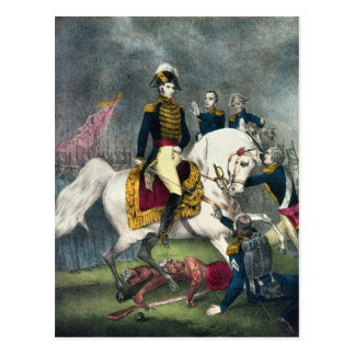General William H. Harrison am Kampf Postkarte