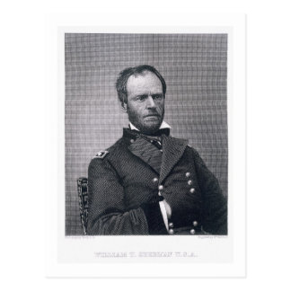 General William Tecumseh Sherman, graviert nach a Postkarte