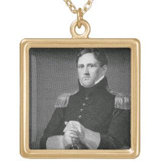 Generalmajor Winfield Scott (1786-1866) graviert Halskette Mit Quadratischem Anhänger