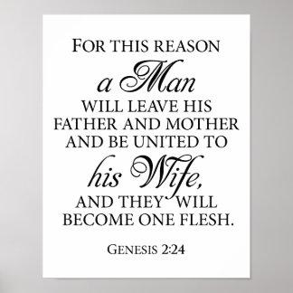 Genese-2:24 B&W Hochzeits-Liebe-Zitat 11 x 14 Poster