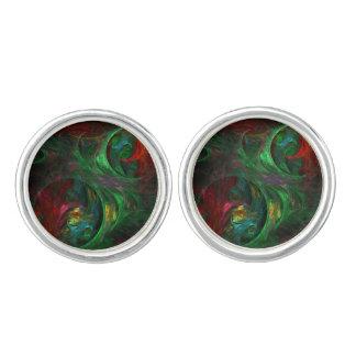 Genese-grünes abstraktes Kunst-Silber überzogen Manschettenknöpfe