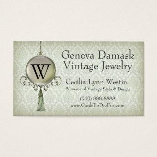 Genf-Damast in der Pistazie Visitenkarte