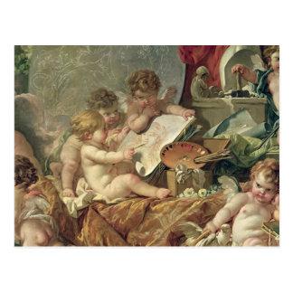 Genie, welches die Künste, 1761 unterrichtet Postkarte