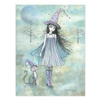 Genießen der Nachthexe-Katzen-Postkarte Postkarte