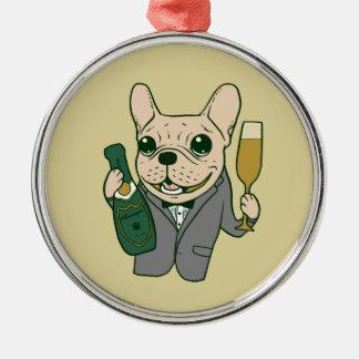 Genießen Sie Champagne mit Frenchie an Ihrer Feier Silbernes Ornament