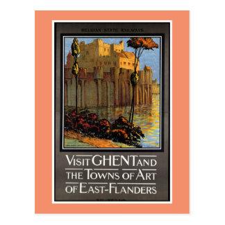 Gent, Belgien, Vintages Reise-Plakat Postkarte