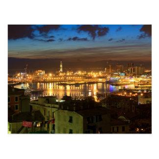 Genua und der Hafen am Abend Postkarte