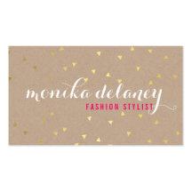 GEO CONFETTI GOLD stylish trendy cool kraft white Business Card Templates