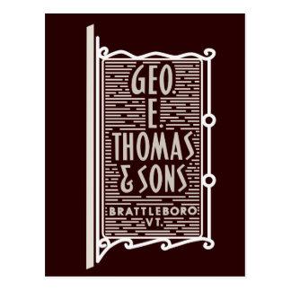 Geo. E. Thomas u. Söhne Brattleboro Postkarte