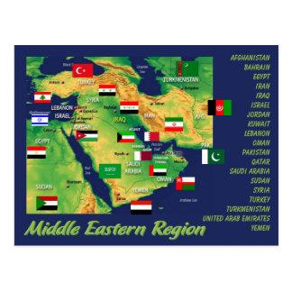 Geographische Karte der Länder im Nahem Osten mit Postkarten
