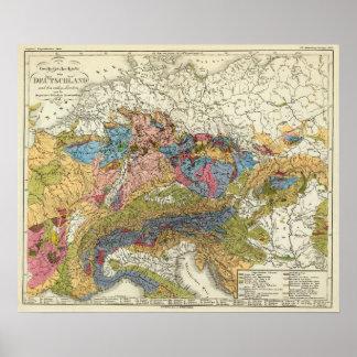 Geologische Karte von Deutschland Poster