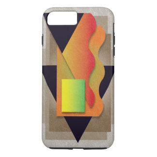 Geometrics auf rauchiger Bronze, gelbgrünes Wappen iPhone 8 Plus/7 Plus Hülle
